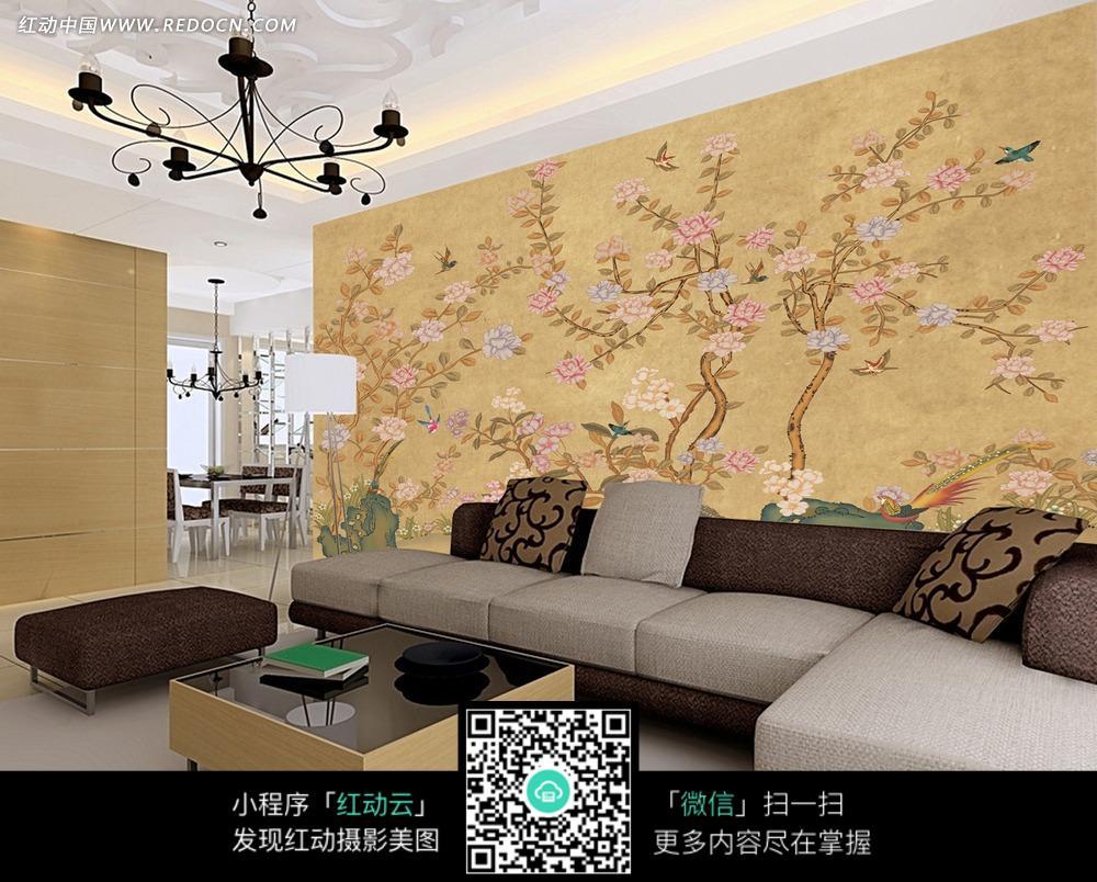 复古怀旧中国风背景墙装饰画设计下载(编号:3