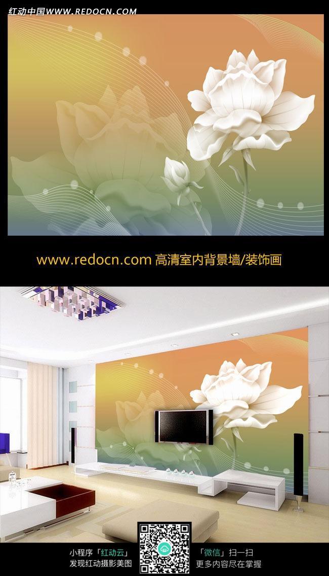 白色小花唯美电视背景墙