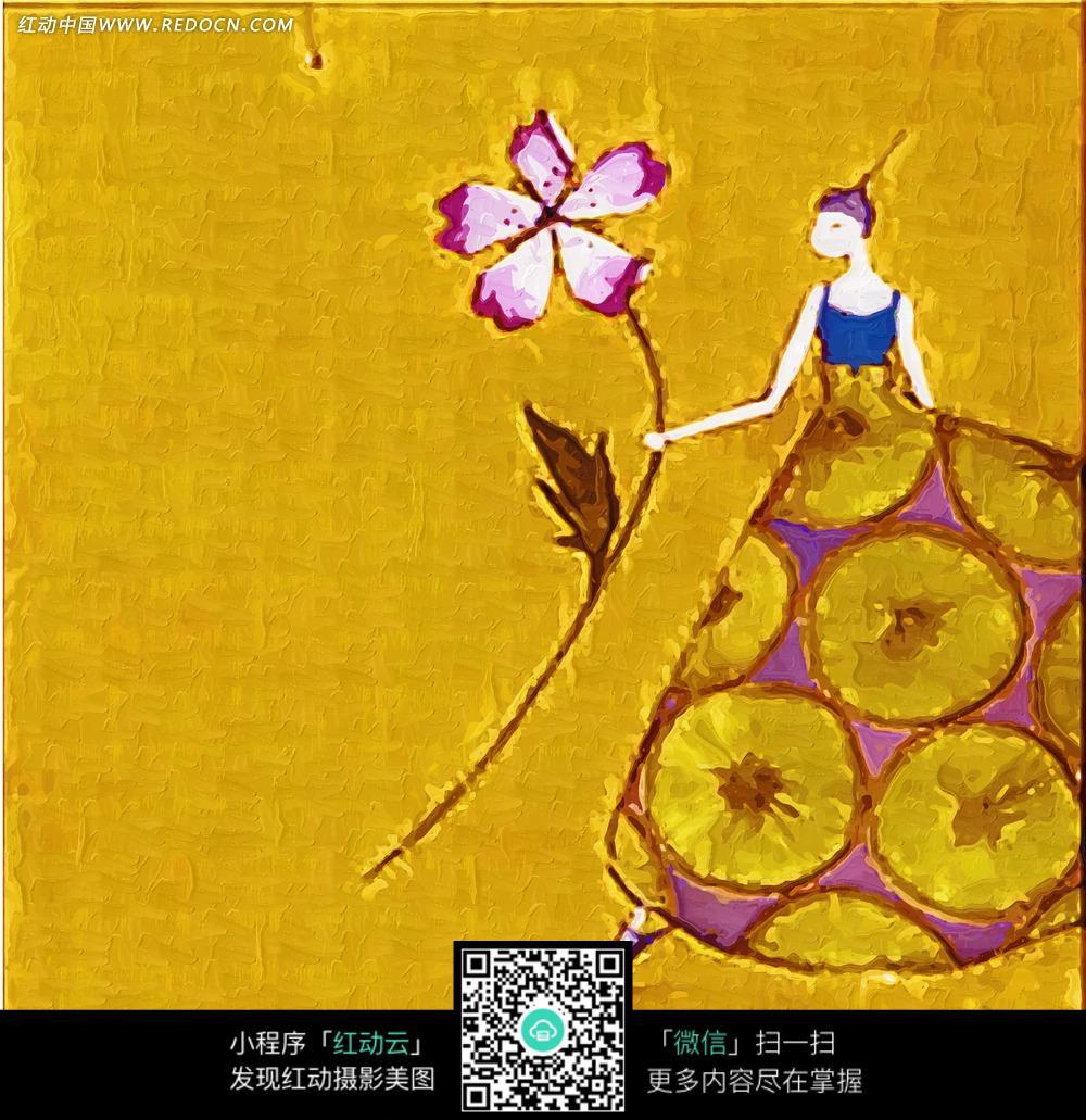 花朵少女无框画_无框画图