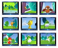 森林动物动画视频