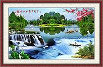 山水瀑布装饰画