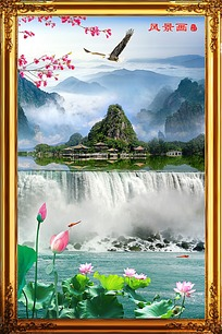 瀑布风景画油画装饰画