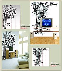 单色水墨画竹子背景墙装饰画AI