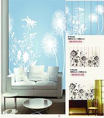 两款单色植物花纹背景墙AI