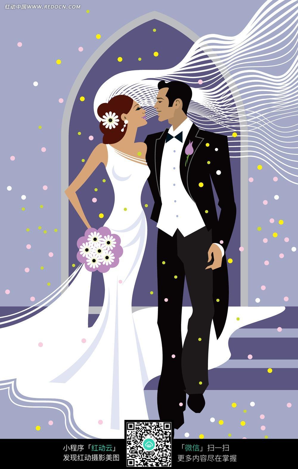 时尚婚礼卡通人物插画图片矢量素材