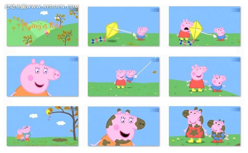 小猪家庭之放风筝动画视频mov素材免费下载 红动网图片