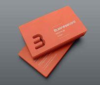 简洁橙色镂空刀板企业名片设计模板psd素材下载