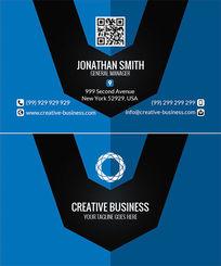 蓝底企业商务名片版式设计PSD素材