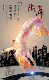 大学街舞社团招新海报设计psd素材下载