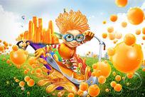 卡通橙子饮料创意广告PSD模板