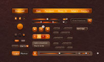 橙色质感ui工具包psd素材