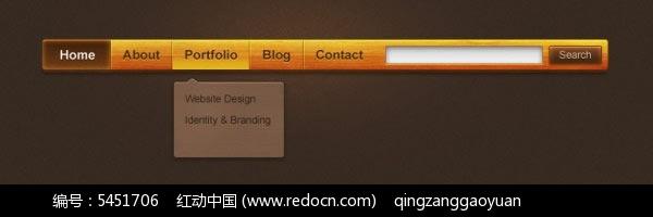 黄色导航菜单栏设计源文件psd免费下载_网页元素素材图片