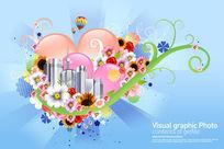 韩国城市花纹海报PSD分层素材