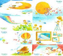 卡通版男孩的快乐童年PSD画册模板