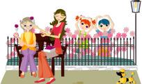 坐在阳台前的母女