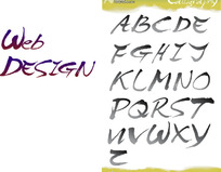 26个大写字母水墨书法字体