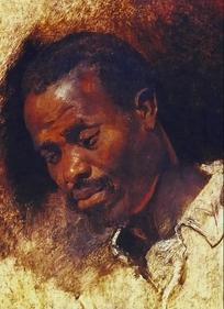 欧洲油画-黑人头像