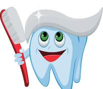 牙齿卡通形象拿牙刷来刷牙