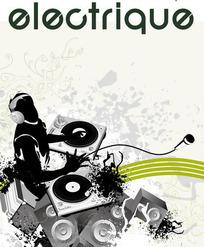 DJ音乐元素与潮流花纹矢量素材
