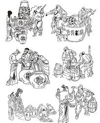 古代线条酿酒图