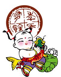 抱着鲤鱼的中国传统贺年娃娃