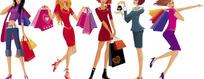 时尚购物女性矢量素材
