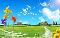 春天绿色的草地风车