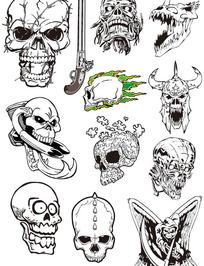 各种造型的海盗骷髅矢量