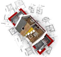 放在规划图上的3D房子的模型