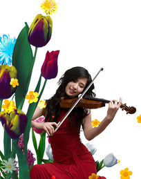 拉小提琴的美女