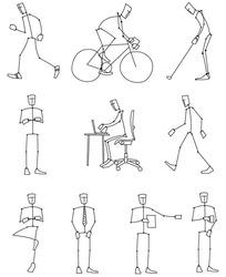 体育动作单色简笔画eps