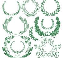 矢量勋章外面的橄榄枝麦穗装饰花边