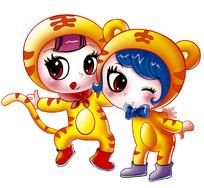 2只可爱的卡通老虎