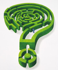 绿色迷宫组成的问号
