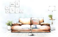室内手绘客厅效果图
