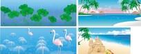插画-海景和池塘