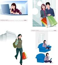 插画-工作 购物