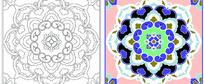 古典适合纹样花卉图案