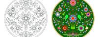 圆形花卉适合纹样