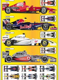 14款F1方程式赛车矢量素材