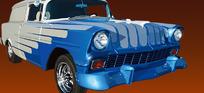 逼真蓝色老款轿车