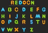 彩色卡通英文字母