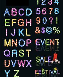 彩色糖果英文字母及数字矢量素材