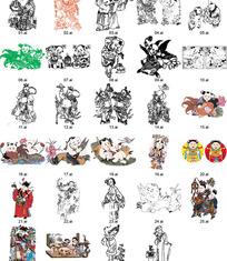 中国传统图画剪纸素材