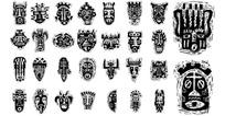 非洲土著面具矢量图