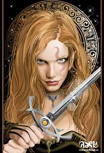 矢量握剑的女人
