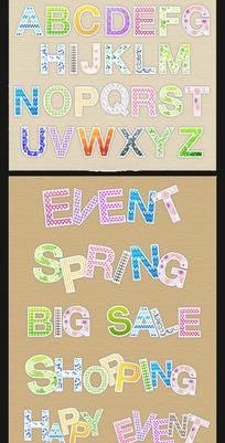 可爱的花纹英文字母矢量