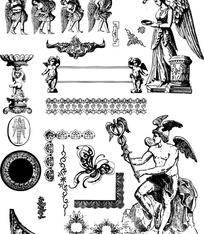 欧式古典花边边框与雕像