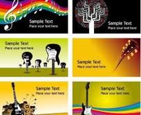 吉他图案的名片卡片设计模板