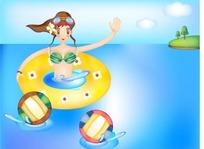 女孩游泳图矢量素材